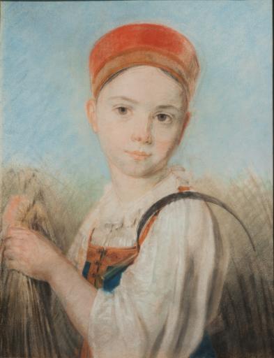 Крестьянская девушка с серпом во ржи