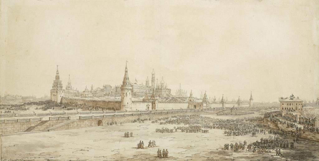 Вид Кремля и Москвы-реки во время крещенского парада в присутствии императора Александра I