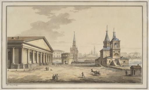 Вид Манежа, Кутафьи и церкви Николы в Сапожках в Москве