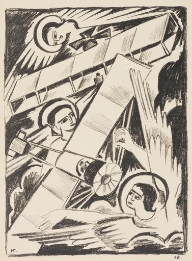 Ангелы и аэропланы. Лист из альбома литографий «Война». 1914
