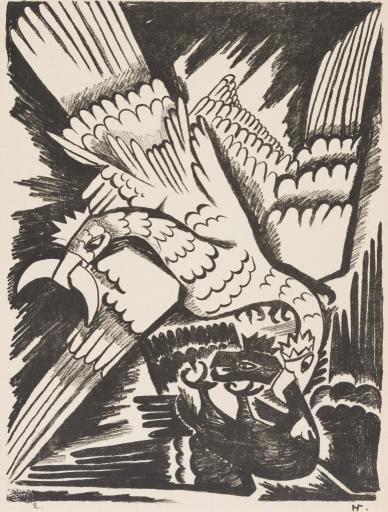 """Белый орел. Лист из альбома литографий """"Война"""". 1914"""