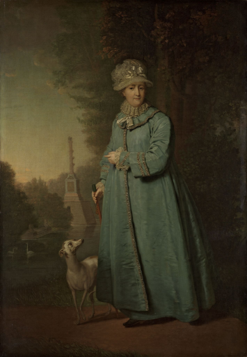 Екатерина II на прогулке в Царскосельском парке (с Чесменской колонной на фоне)