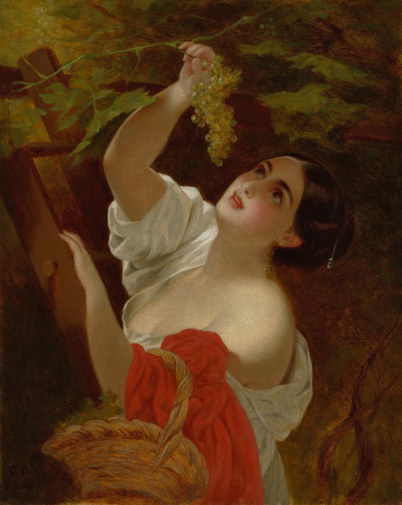 итальянский полдень (Итальянка, снимающая виноград)