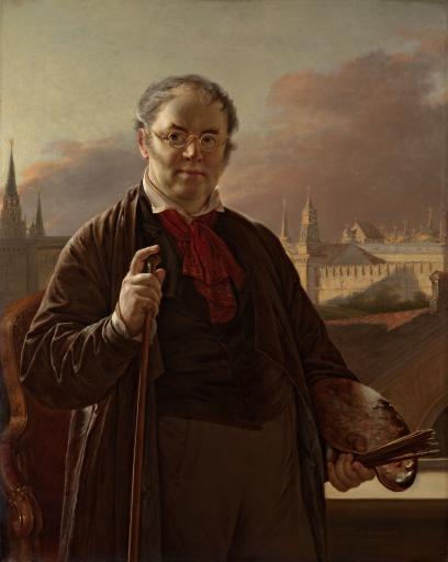Автопортрет на фоне окна, с видом на Кремль
