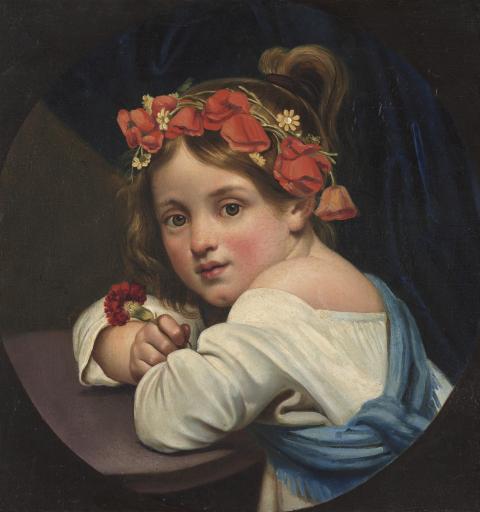 Девочка в маковом венке, с гвоздикой в руке (Мариучча)