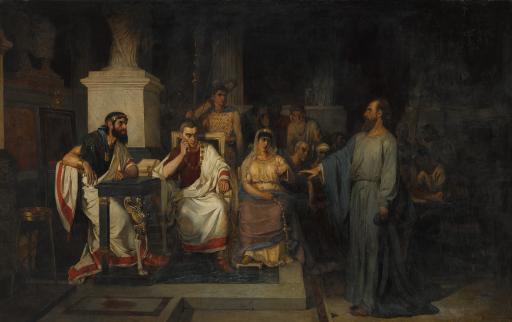Апостол Павел объясняет догматы веры в присутствии царя Агриппы, сестры его Вереники и проконсула Феста