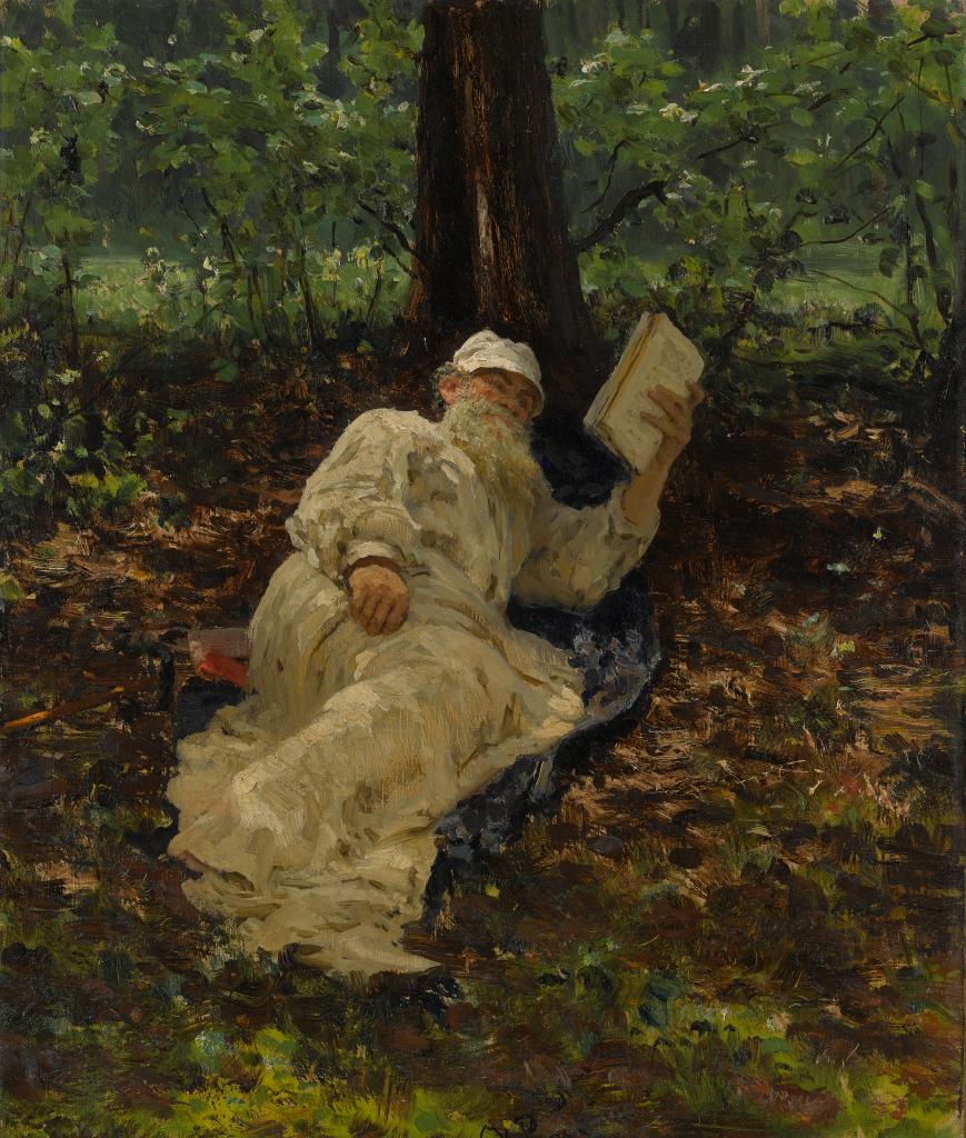 Л.Н.Толстой на отдыхе в лесу