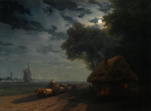 Украинский пейзаж с чумаками при луне