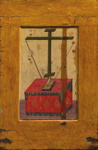 Богоматерь Владимирская. Престол с орудиями Страстей. Двусторонняя икона