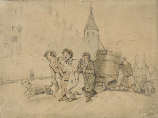 Тройка, ученики мастеровые везут воду. Эскиз одноименной картины (1866, ГТГ)