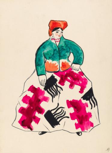 Баба в оранжевом головном уборе. Эскиз костюма к балету И.Ф.Стравинского. Неосуществленный вариант