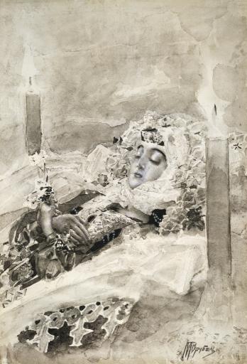 Тамара в гробу. Иллюстрация к поэме М.Ю.Лермонтова «Демон»