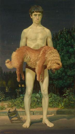 Человек с убитой собакой